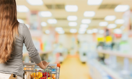 shopping cart: Supermarket, Shopping, Groceries. Stock Photo