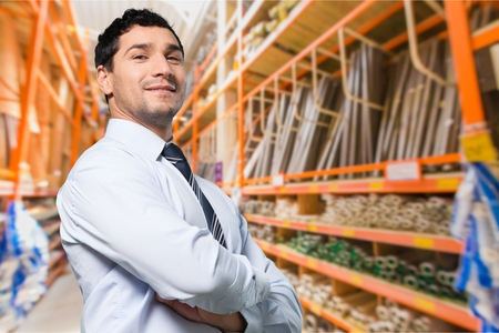 loading bay: Business, black, worker. Stock Photo