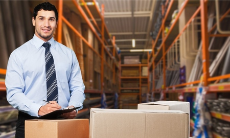 courier: Business, courier, men. Stock Photo