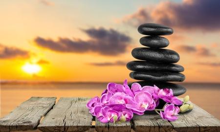 lastone therapy: Spa Treatment, Orchid, Stone. Stock Photo