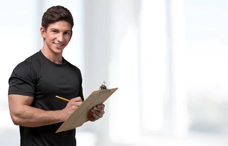 instructor: Instructor, Exercising, Coach. Stock Photo