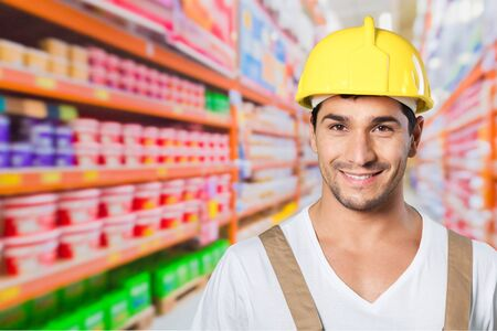 blue collar: Portrait, workman, blue collar man. Stock Photo