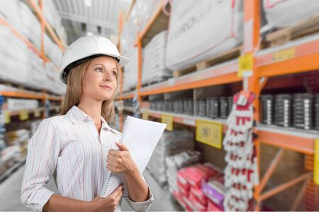 open collar: Engineer, Architect, Manual Worker. Stock Photo