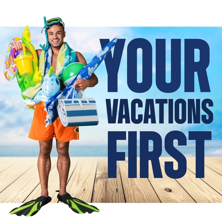 humor: Vacations, first, Humor. Stock Photo