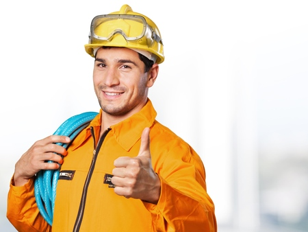 heavy industry: Electrician, worker, man. Stock Photo