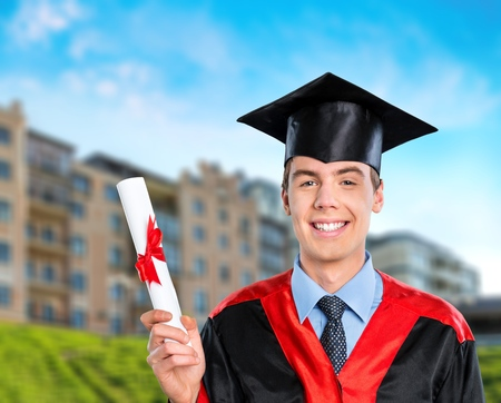 high school series: Graduation, Male, Student. Stock Photo