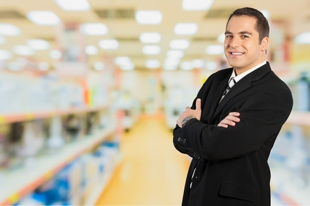 man front view: Businessman, Business, Business Person. Stock Photo