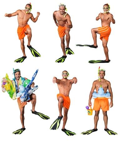 flippers: Swimmer, background, swimwear. Stock Photo