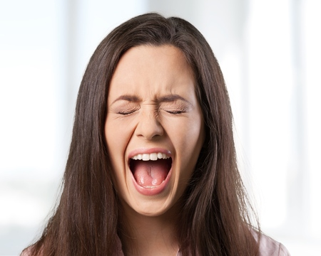 shouting: Woman, scream, girl. Stock Photo
