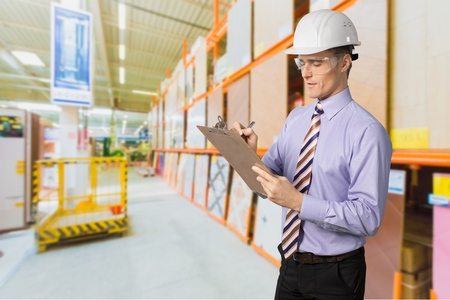 Inspector, osha, Clipboard. Stock Photo