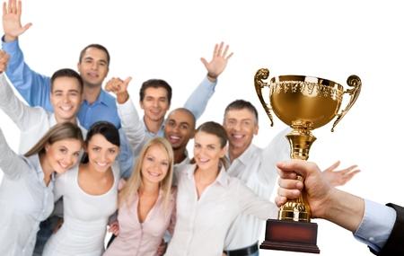 awards ceremony: Trophy, Winning, Award.