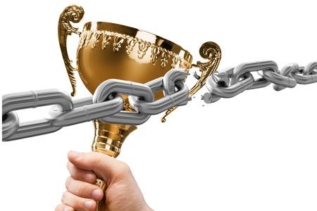 hand holding: Trophy, Winning, Award.