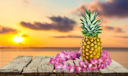 hawaiian lei: Garland, Hawaiian Culture, Pineapple. Stock Photo