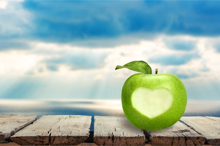 Apple, Heart Shape, Healthy Lifestyle.