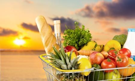 shopping basket: Groceries, Basket, Shopping Basket.