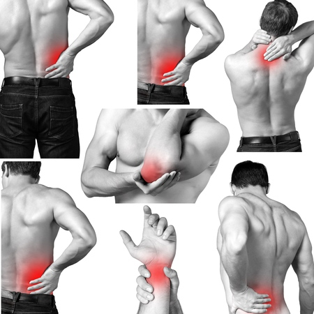 Pain, physical, elbow. Stock Photo