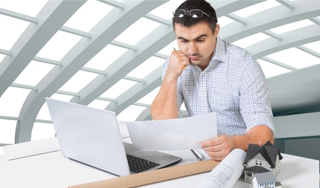 work from home: Work, home, man. Stock Photo