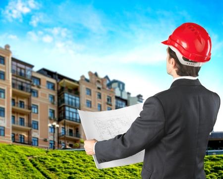 contractors: Building, contractor, site. Stock Photo
