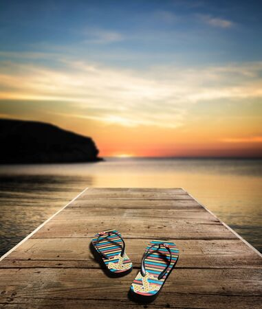 sandalia: Flip-flop, playa, Sandalia. Foto de archivo