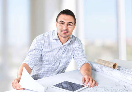 architect: Men, architect, working. Stock Photo