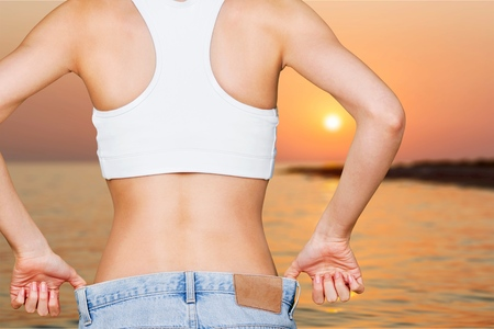 s stomach: Weight, loss, success. Stock Photo