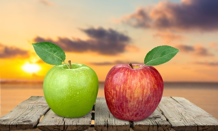 granny smith: Apple, Two Objects, Granny Smith Apple. Stock Photo