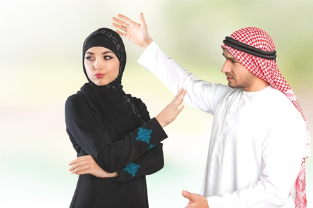 agitated: Woman, arab, arabic. Stock Photo