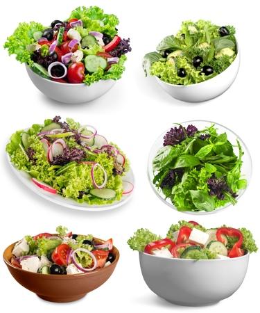 greek salad: Diet, salad, feta. Stock Photo