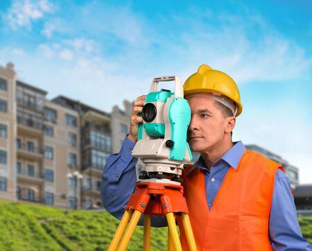 surveyor: Agrimensor, Construcción, Arquitecto. Foto de archivo