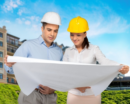 open collar: Engineer, Construction, Architect. Stock Photo