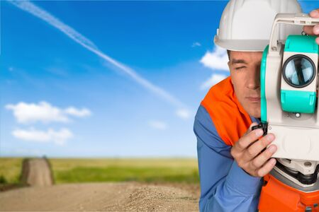 surveyor: Surveyor, Road Construction, Theodolite. Stock Photo