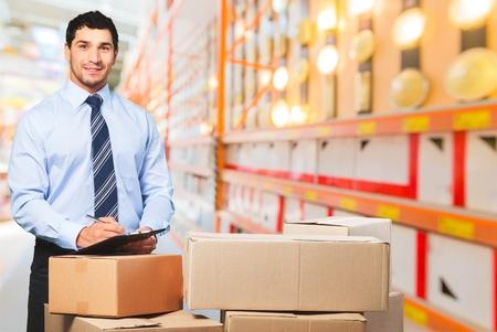 three shelves: Business, courier, men. Stock Photo