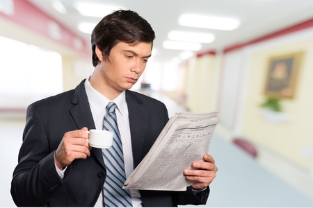 financial newspaper: Newspaper, Reading, Coffee.