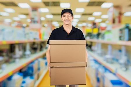 cardboard only: Delivering, Men, Package.