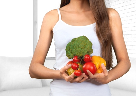 comfort food: Woman, Healthy Lifestyle, Healthy Eating. Stock Photo