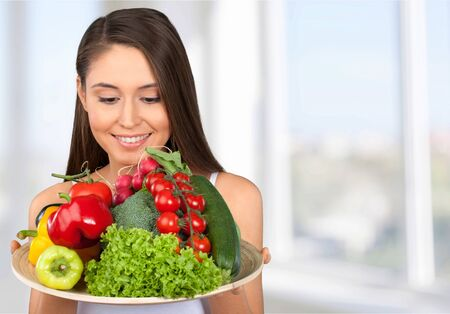 body conscious: Healthy Lifestyle, Woman, Food. Stock Photo