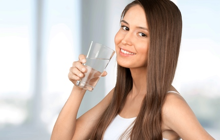cold water: Water, Drinking, Woman. Stock Photo