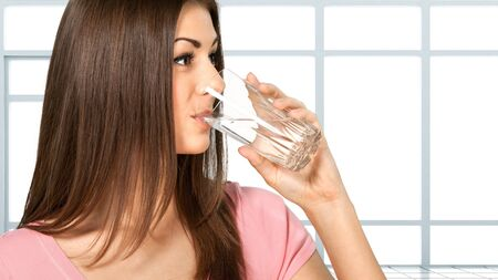 Water, Drinking, Woman. Stock Photo