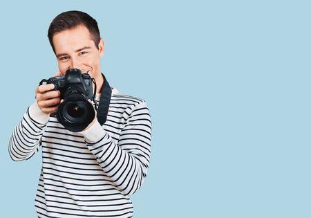 photojournalist: Photographer, journalist, male. Stock Photo