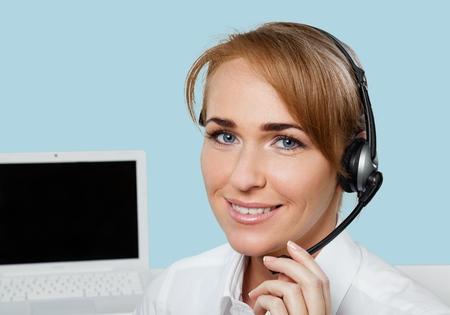 customer service representative: Woman, Customer Service Representative, Service.