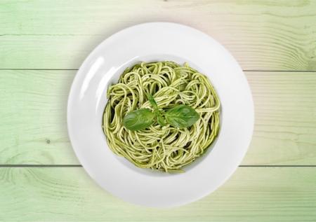 italian culture: Pasta, Pesto Sauce, Italian Culture. Stock Photo