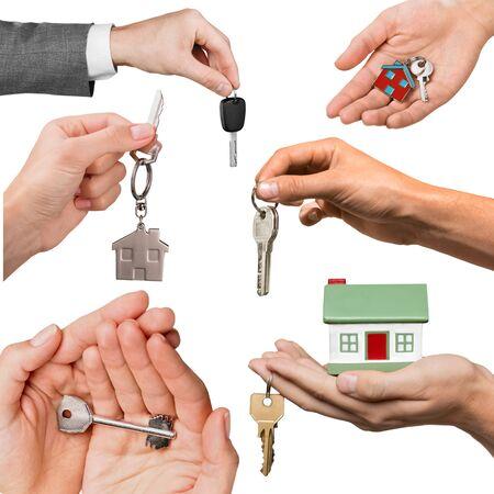 key in chain: Car, Key, Human Hand.
