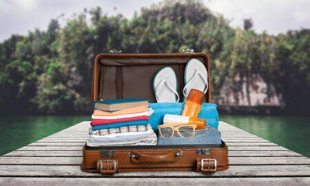 open suitcase: Travel, traveler, pack. Stock Photo