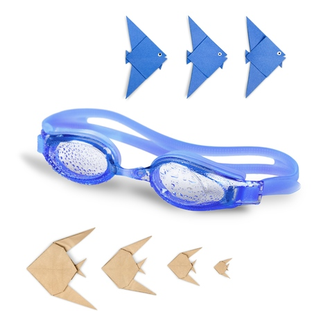 recreational pursuits: Swimming Goggles, Blue, Isolated.