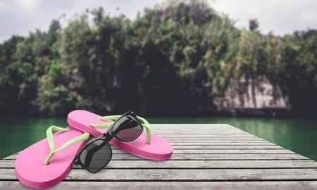 accessorize: Flip-flop, Beach, Sunglasses.
