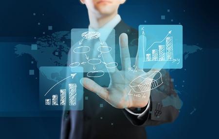 liderazgo empresarial: Información, concepto, tecnología. Foto de archivo