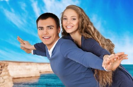 casal heterossexual: Praia, Casal Heterossexual, alegre. Banco de Imagens
