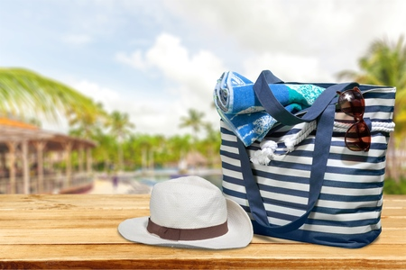 objects: Beach, Bag, Group of Objects. Stock Photo