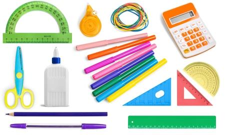 Škola, vzdělání, kancelářské potřeby. Reklamní fotografie