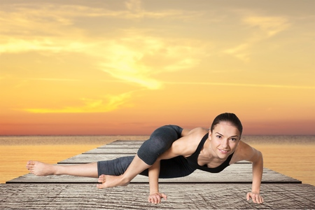 asana: Yoga, pose, asana. Stock Photo